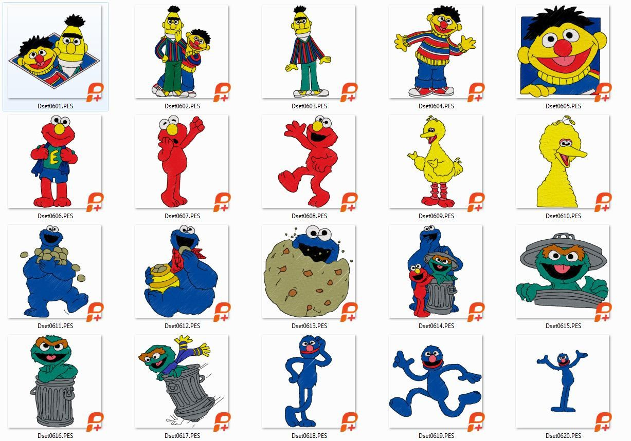 20 Sesame Street, Embroidery Designs, Instant Download