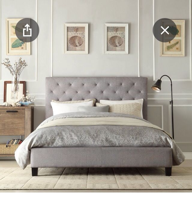 grey upholstered bed king. Grey Upholstered Headboard Bed Walls White Trim King G
