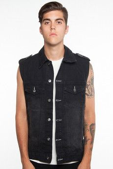 Guys Cruise On Denim Vest Black