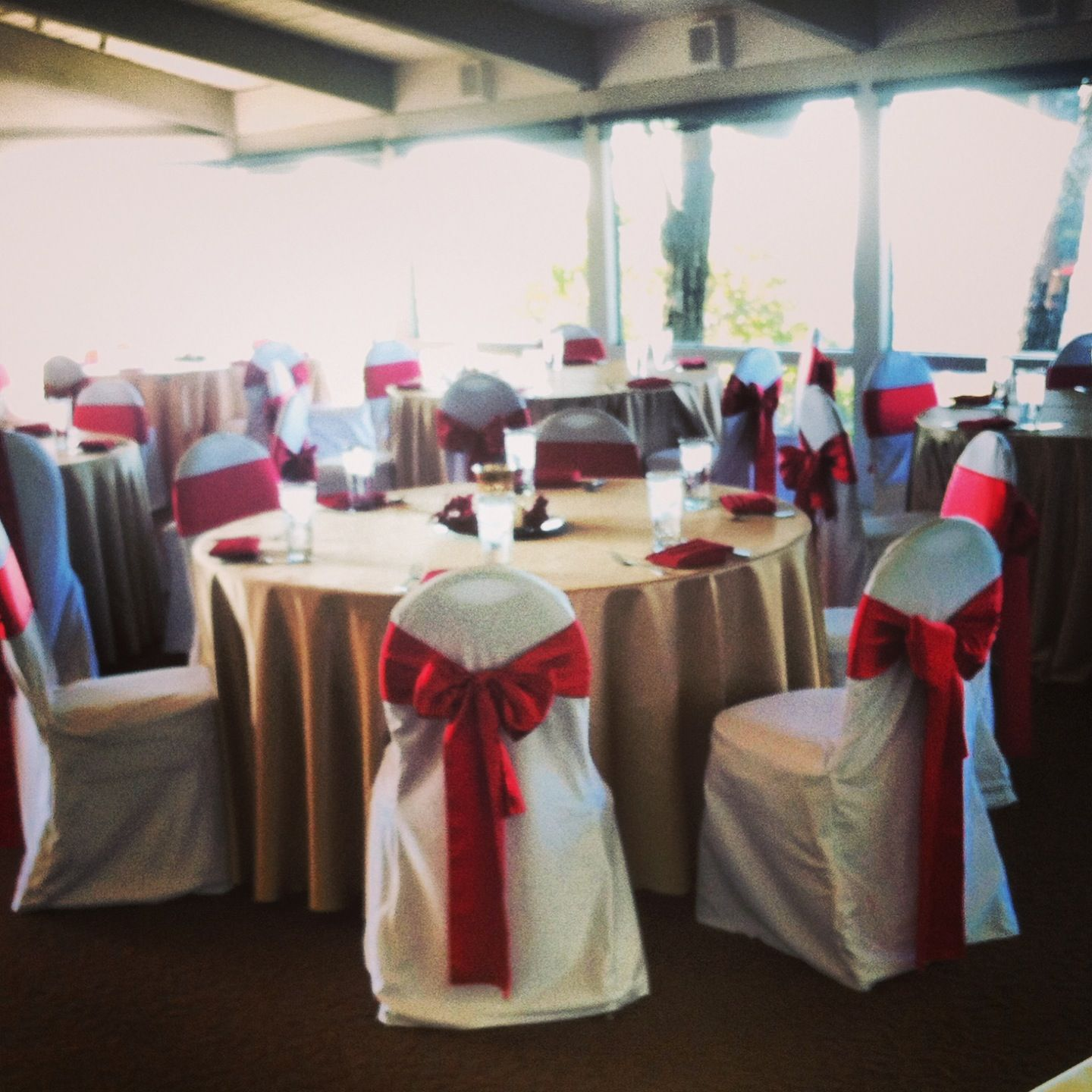 Gold Satin Table Cloth Red Satin Sash White Chair Cover satin