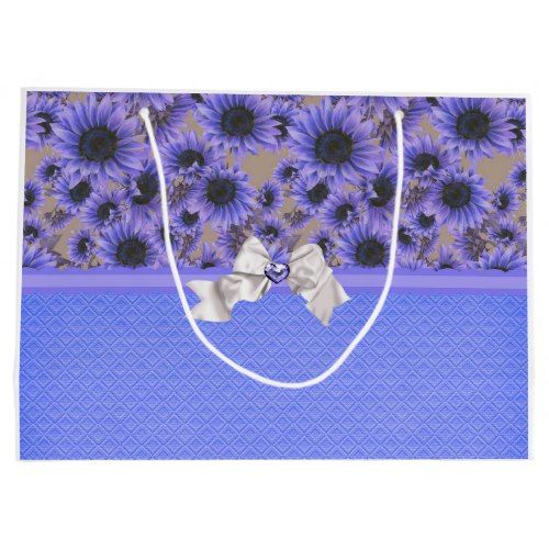 Stylish Purple Sunflowers Large Gift Bag
