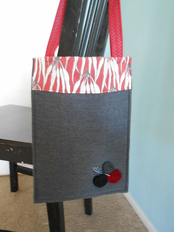 Charcoal Gray Felted Wool Bag Tote Style Red by WoolandSpice, $35.00