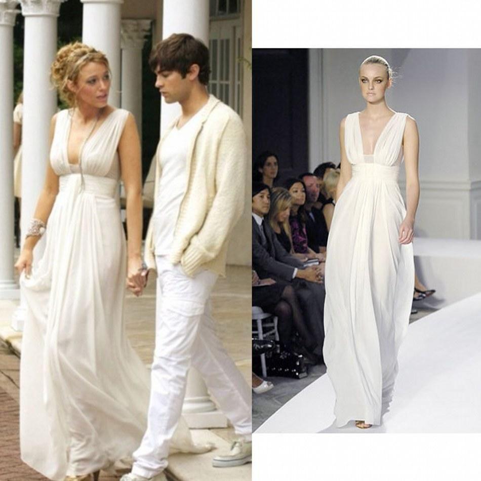 Blake Lively Gossip Girl White Evening Party Dresses For 2015 Summer ...