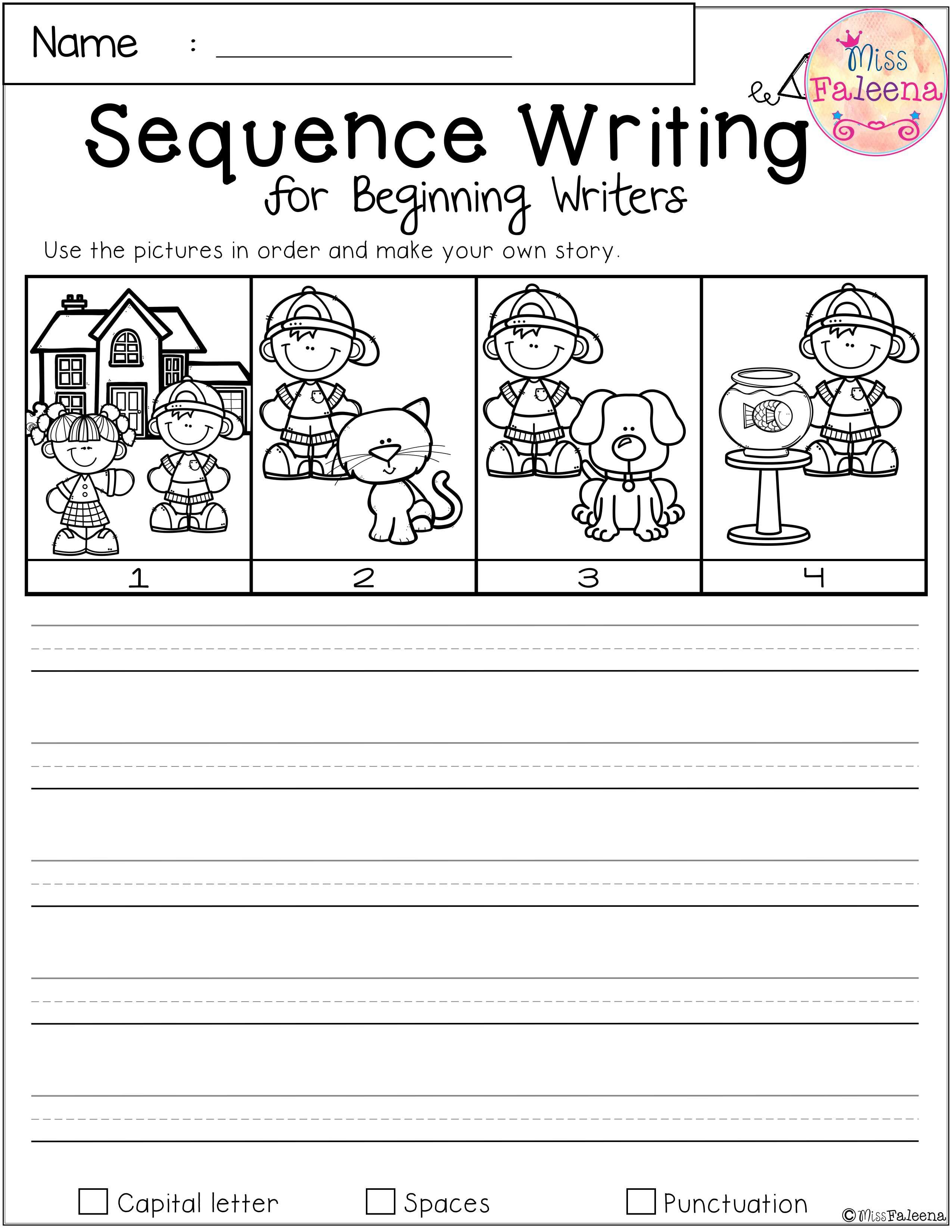 Free Sequence Writing For Beginning Writers Sequence Writing Sequencing Worksheets Kindergarten Sequencing Worksheets Story writing for kids worksheets