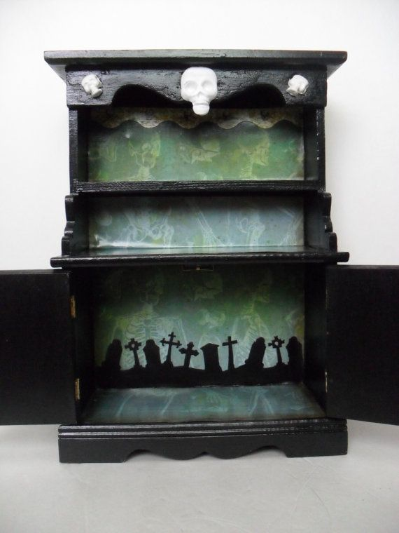 gothic display cabinet with skeleton theme by nacreous alchemy furniture m bel pinterest. Black Bedroom Furniture Sets. Home Design Ideas