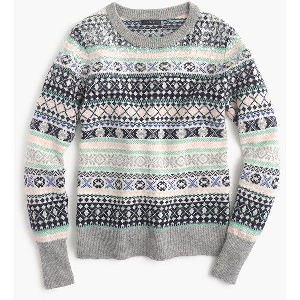 J.Crew Sequin Fair Isle Sweater ($92) ❤ liked on Polyvore ...