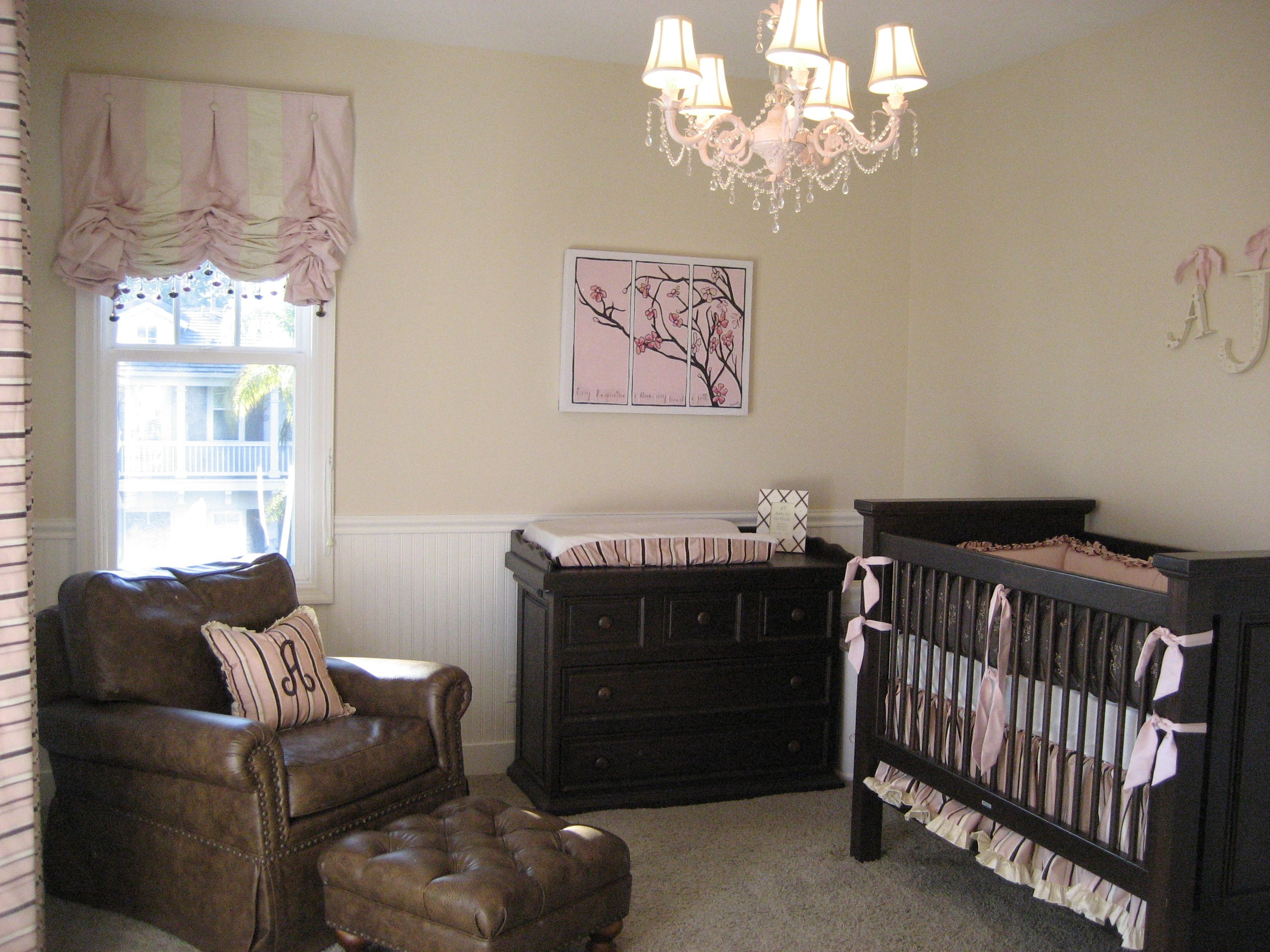 Rural Chic for a baby girl, dark furniture.   Home decorating ...