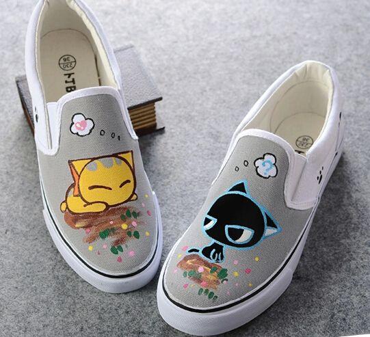 49b939a11a9e9 XQC Cartoon Cat Dog Hand Painted Shoes Children Girls Boys ...