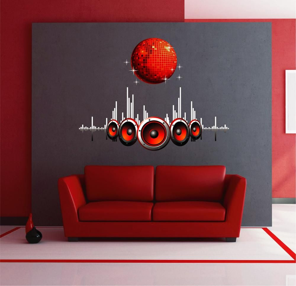 cik1566 full color wall decal music disco ball equalizer on wall stickers for hall id=72036
