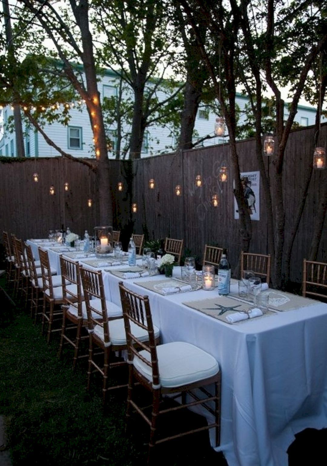 12 Marvelous Outdoor Wedding Party Ideas For Inspiration Wedding Backyard Reception Backyard Dinner Party Small Backyard Wedding