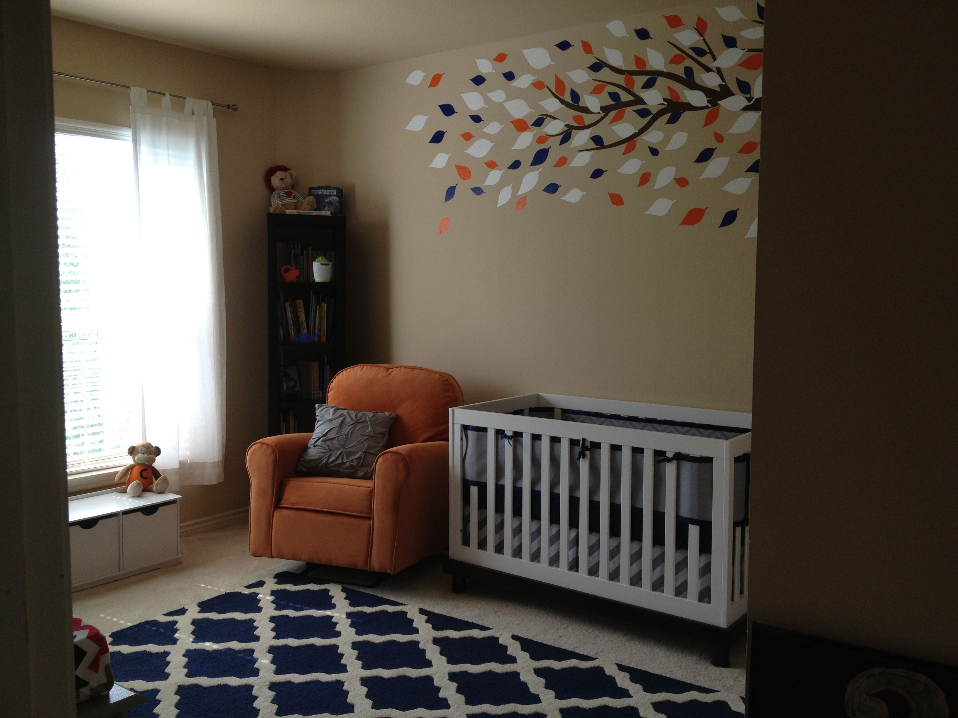 Navy blue orange gray boys nursery my creations for Blue and orange room