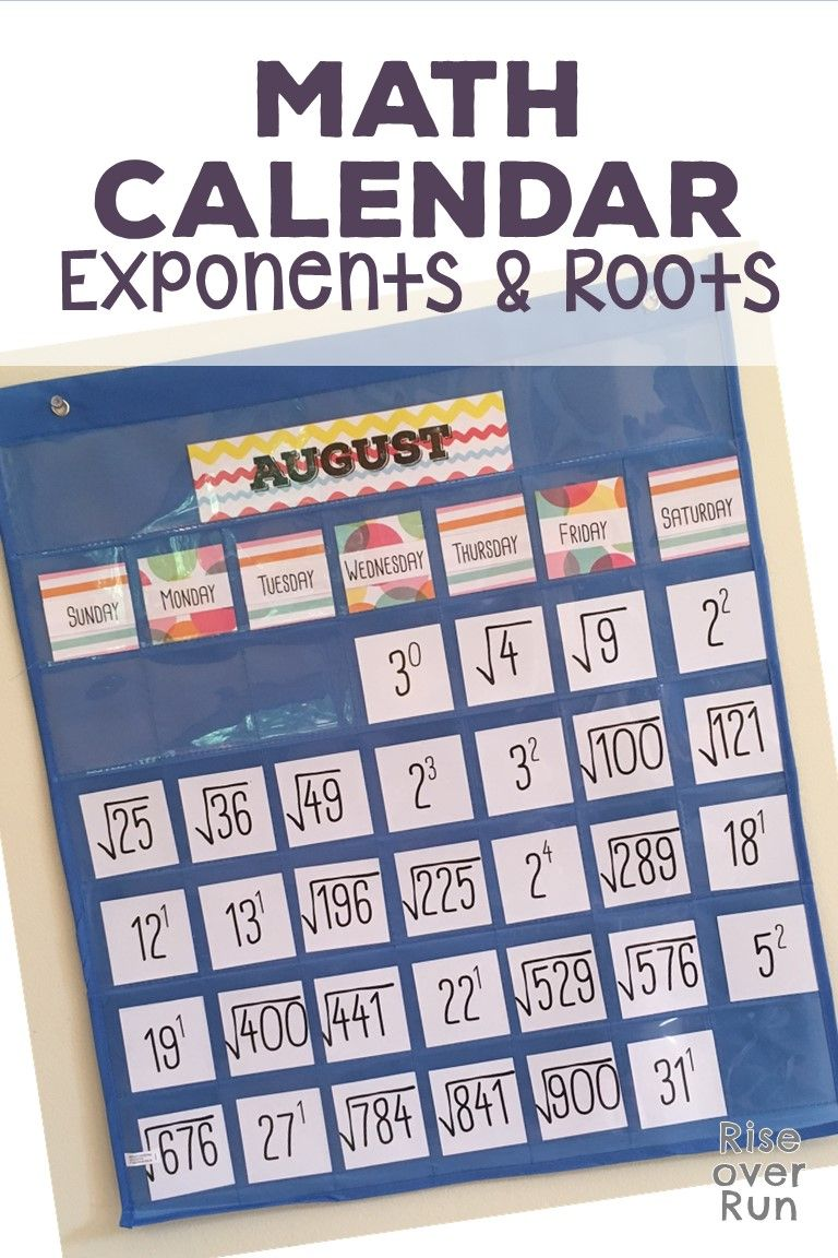 Math Calendar Featuring Exponents And Roots Perfect Classroom Decor For Secondary Math Classrooms Students Gain Familiar Calendar Math Math Word Walls Math [ 1152 x 768 Pixel ]