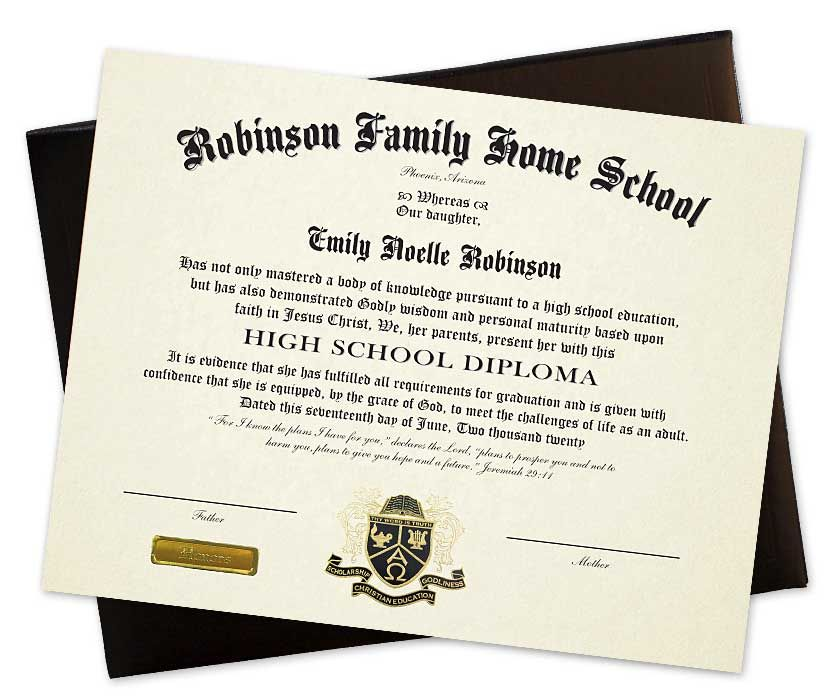The Personalized Homeschool Diploma includes a deluxe padded cover - Diploma Wording