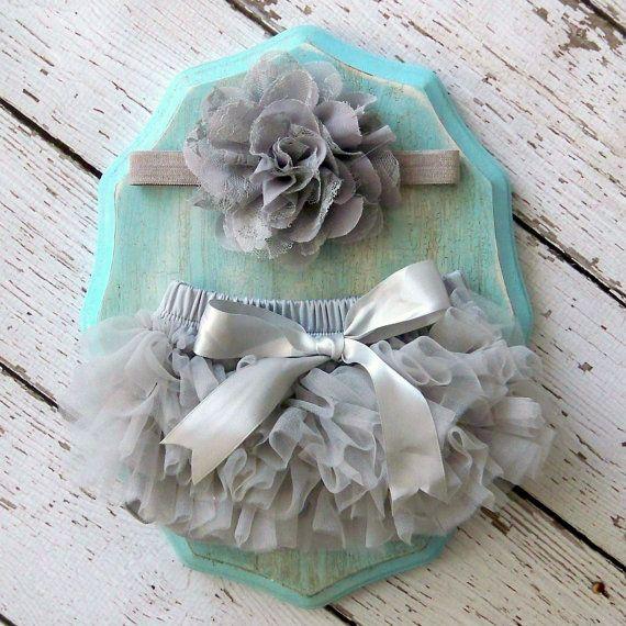 Baby Girl TuTu Bloomers Chiffon Ruffle Diaper Cover Grey Gray Flower Headband Set Newborn Photography Prop 0 3 months