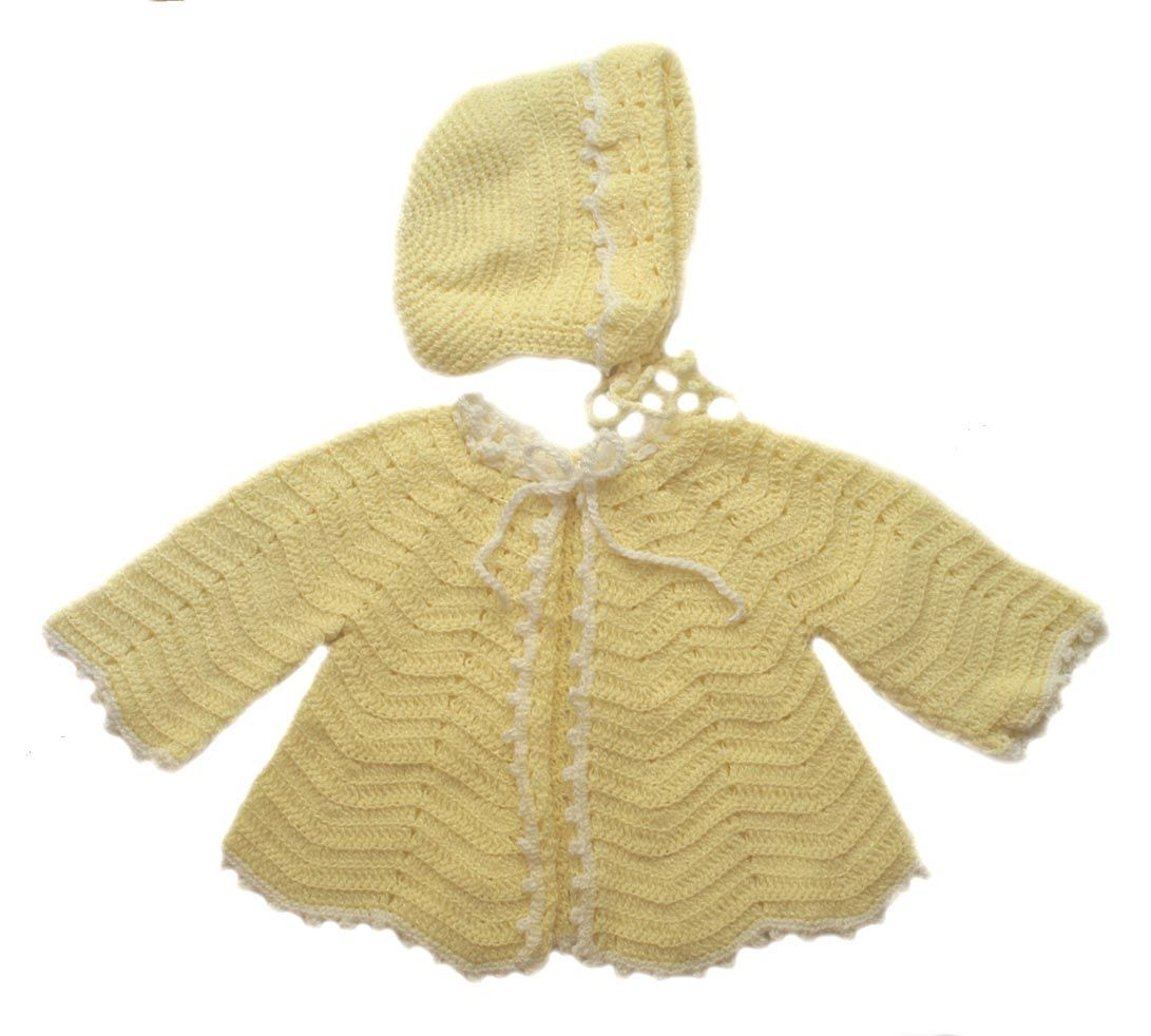NEW Yellow Custom Crocheted Sweater, Bonnet and Booties Set $65.00 ...