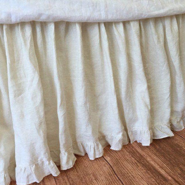 Cream Dust Ruffle With Hem Custom Bed Skirt Shabby Chic Handcrafted By