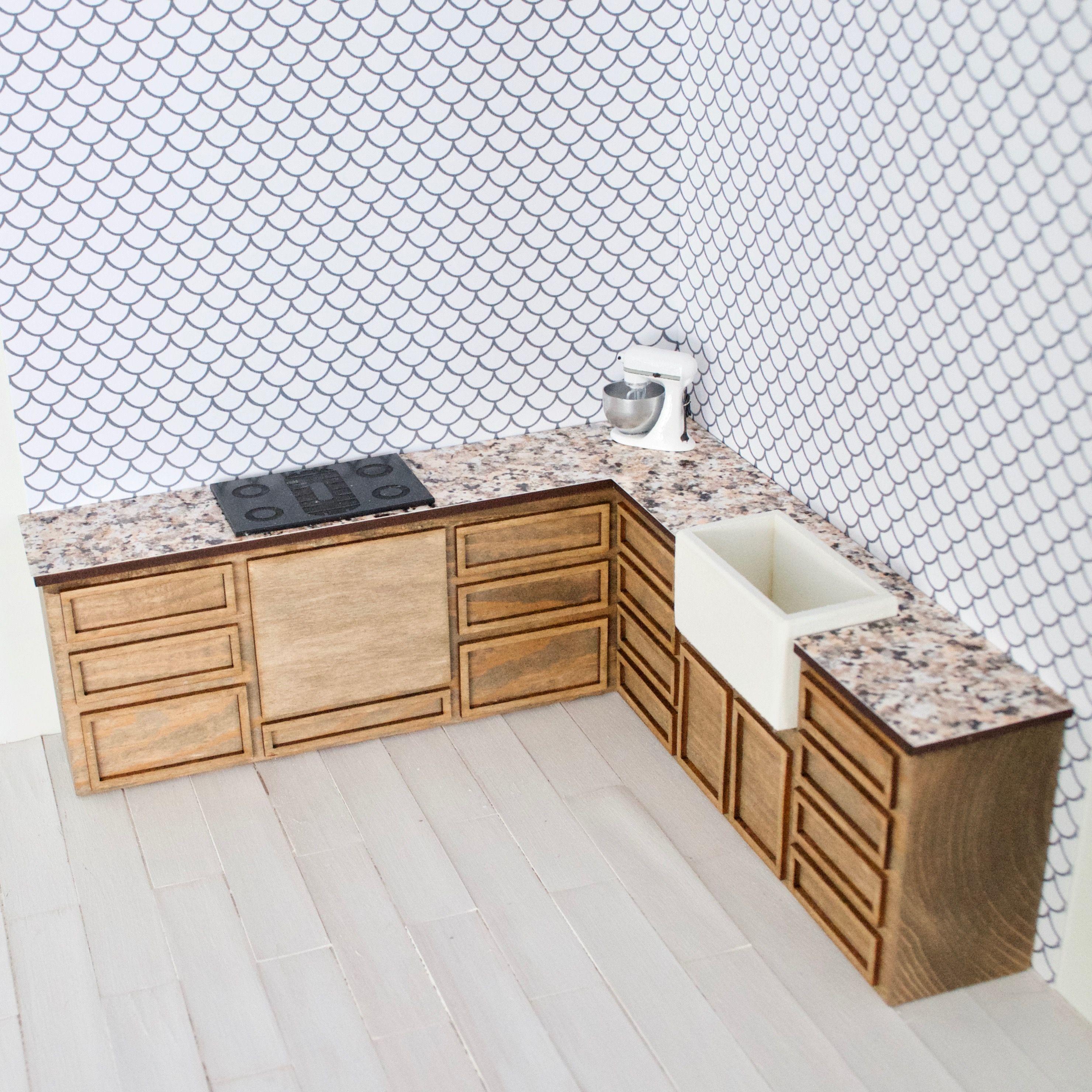 Dollhouse Kitchen Mini Kitchen Kitchen Cabinets Customized Kitchen Shaker Style Cabinets In 2020 Dollhouse Kitchen Decor Tutorials Furniture Decor