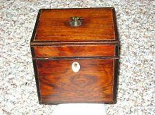 1800's Wooden Tea Caddy w/Bone Escutcheon