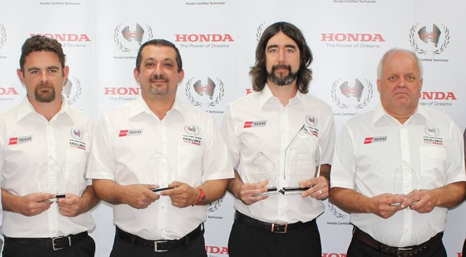 Congratulations to Darren Greenough (third from left). Darren is a Geraldton #technician and the National Winner of the 2018 Honda Certified Technician (HCT) Excellence Award in the Power Equipment category.    A big thanks from Honda to the dealerships who participated in the HCT #training program for their commitment.      #congrats #congrats #geraldtonmowers #weareyardsinfront #hondapowerequipment #powerequipment #winnerwinnerchickendinner #champion #winner