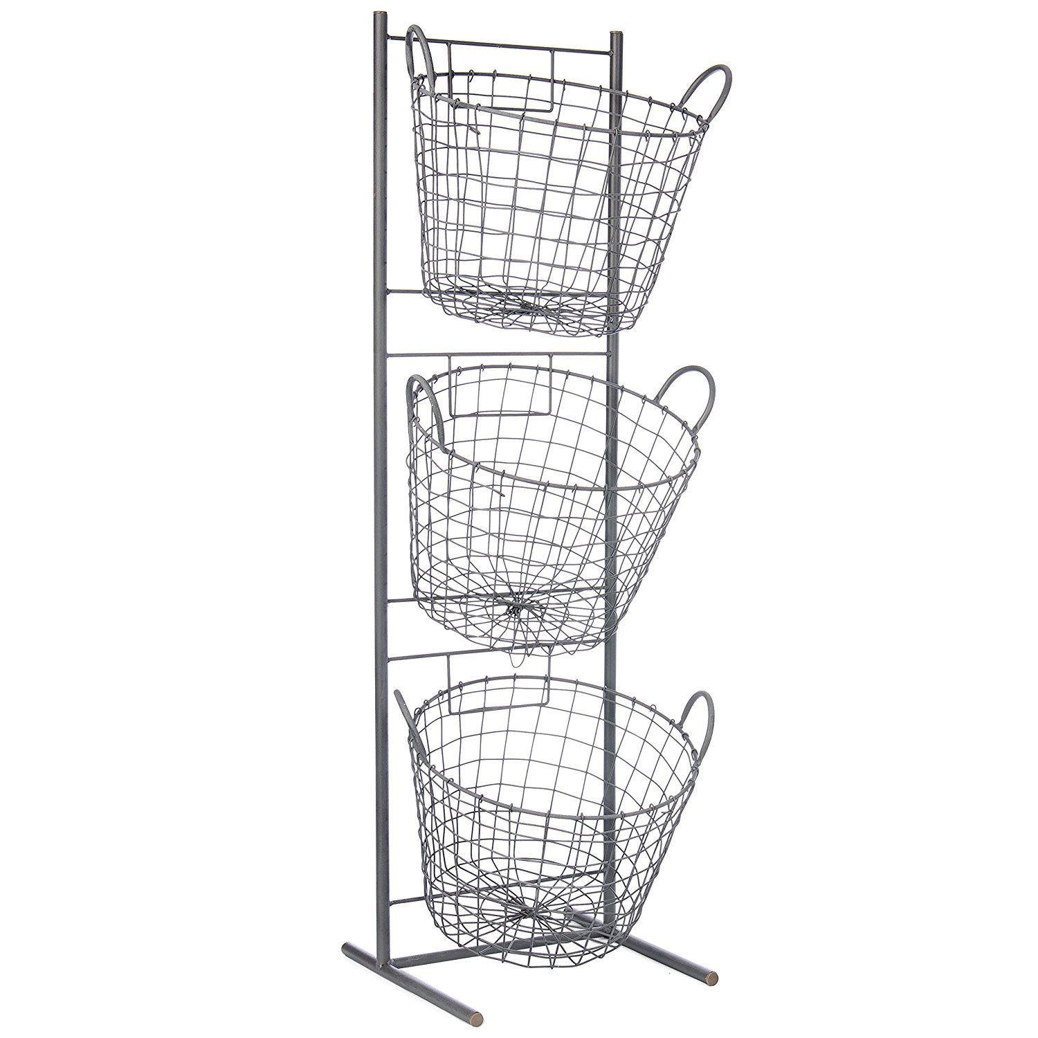 Amazon Com Skalny Round Metal 3 Tier Basket Display Stand 11 75 Quot X 10 5 Quot X 35 25 Quot Home Amp Kitchen