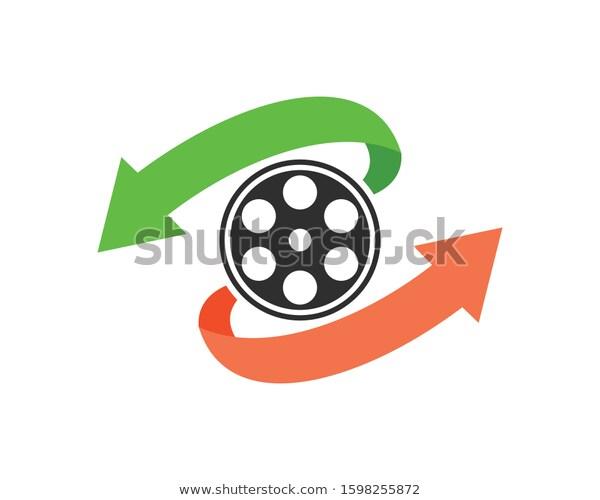 Film Roll Circular Arrow Stock Vector Royalty Free 1598255872