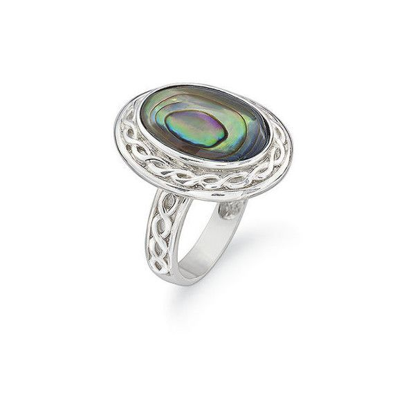 Natures Jewelry Genuine Abalone  Sterling Silver Rope Edge Ring Size... (105 BAM) ❤ liked on Polyvore featuring jewelry, rings, rope jewelry, natures jewelry, abalone ring, sterling silver jewelry and abalone jewelry