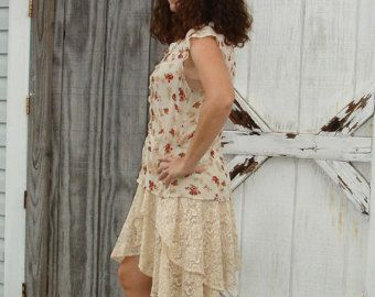 Free People Mori Girl Upcycled Lagenlook Boho Gypsy Eco friendly Indie Prairie Cowgirl Shabby Chic Altered Couture