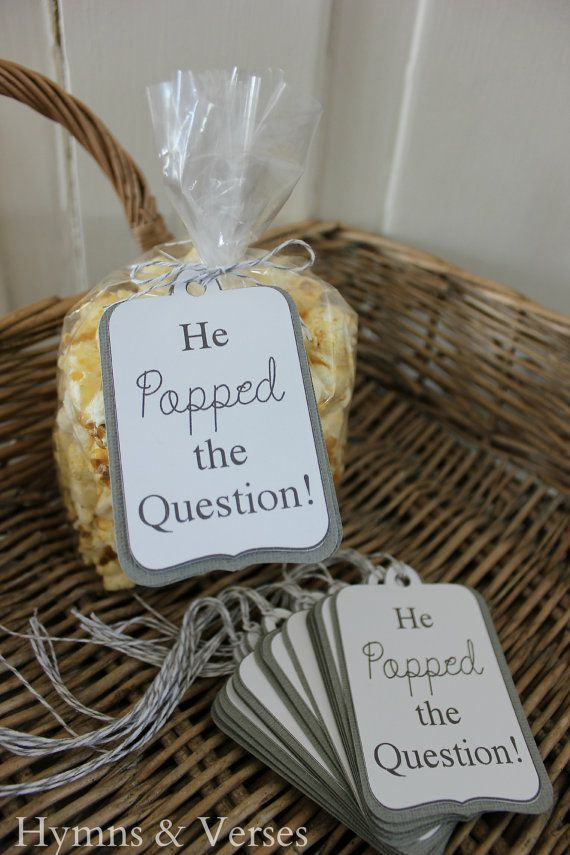 """""""He Popped The Question"""" Engagement Party Popcorn Favor"""
