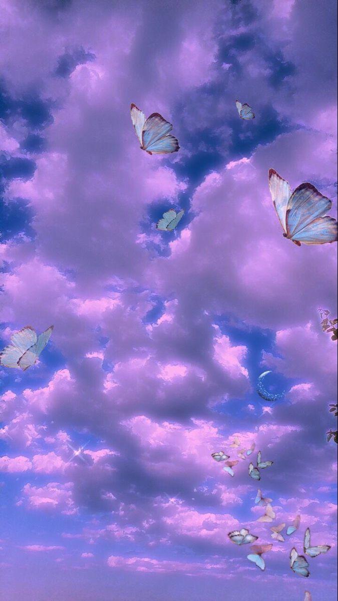 Butterfly Purple In 2020 Butterfly Wallpaper Iphone Purple Wallpaper Iphone Trippy Wallpaper