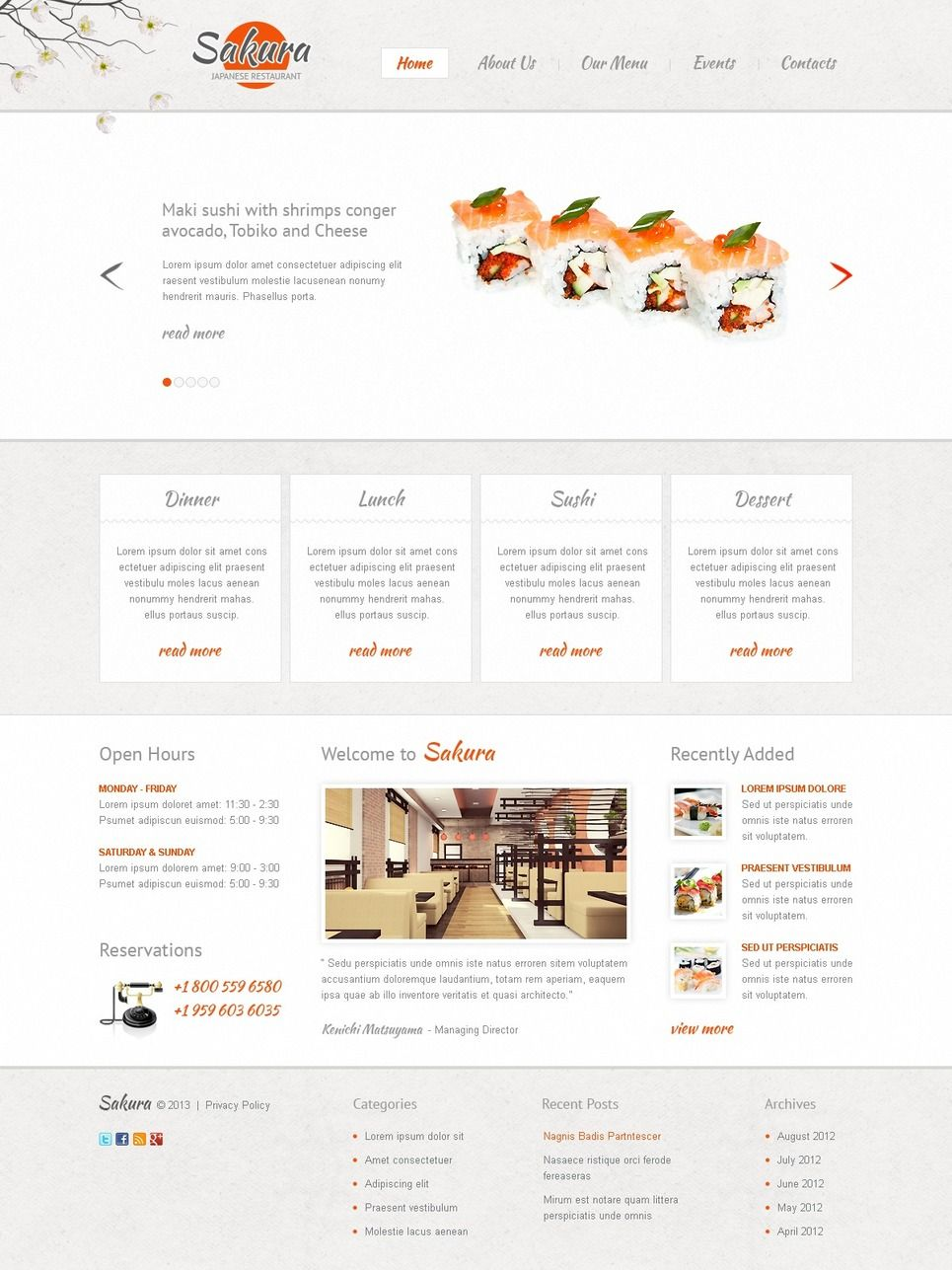 Japanese Restaurant Website Template 41996 Restaurant