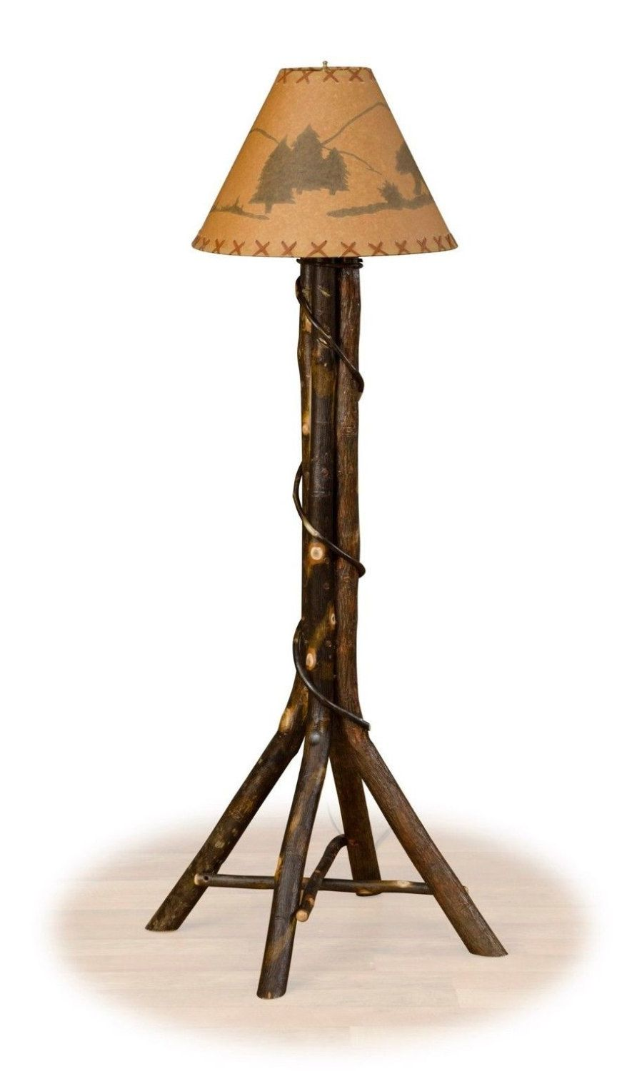 Rustic Hickory Floor Lamp with Split Base - Living Room - Family ...