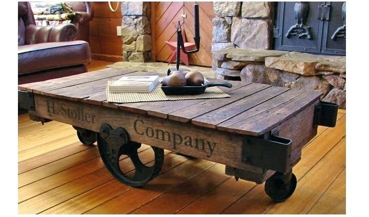 rail cart coffee table carts antique factory cart coffee ...