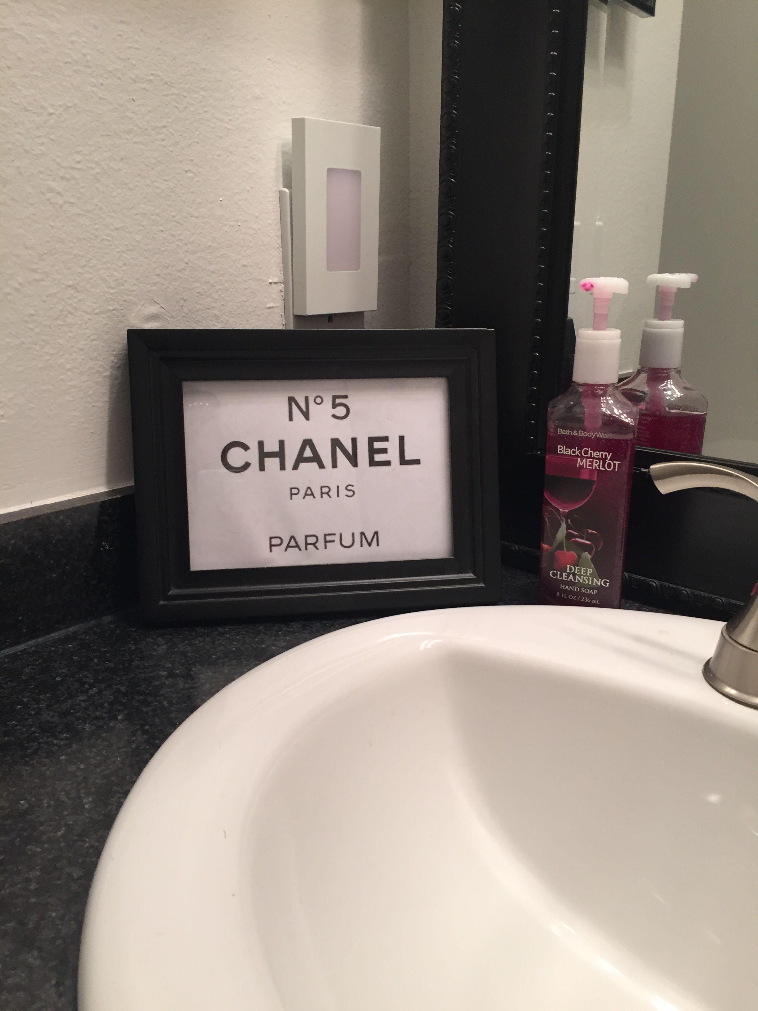 Chanel Number 5 Inspired Bathroom Decor Diy Art Projects Diy