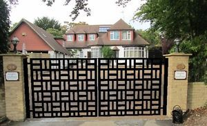 Contemporary Driveway Gate On Sale Modern Metal Garden Wrought Iron Steel  12 Ft