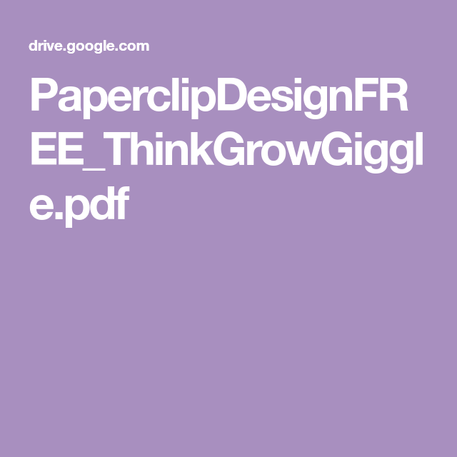 Paperclipdesignfree Thinkgrowgiggle Pdf 4th Back To School Pdf