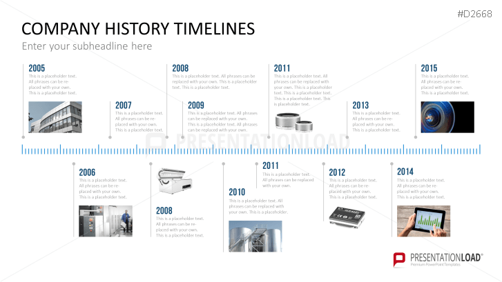 powerpoint timeline template for company histories data