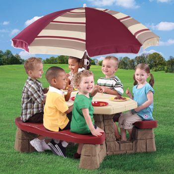 Costco Step2 Naturally Playful Picnic Table With Umbrella Kids Picnic Table Kids Picnic Picnic Table With Umbrella