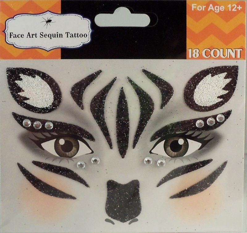 Rhinestone Glitter Zebra Face Zebra Face Paint Zebra Makeup