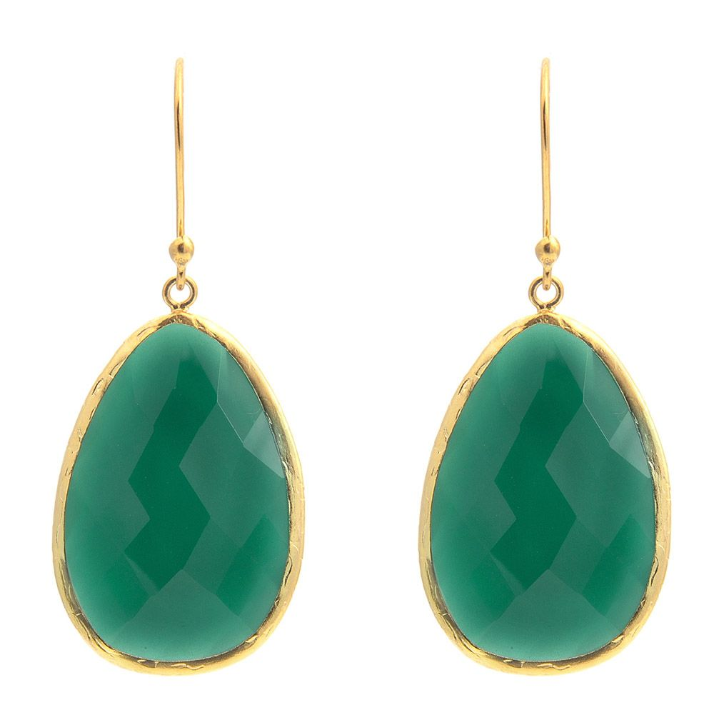 Latelita London Gold Single Drop Earring Green Onyx K6uYDE