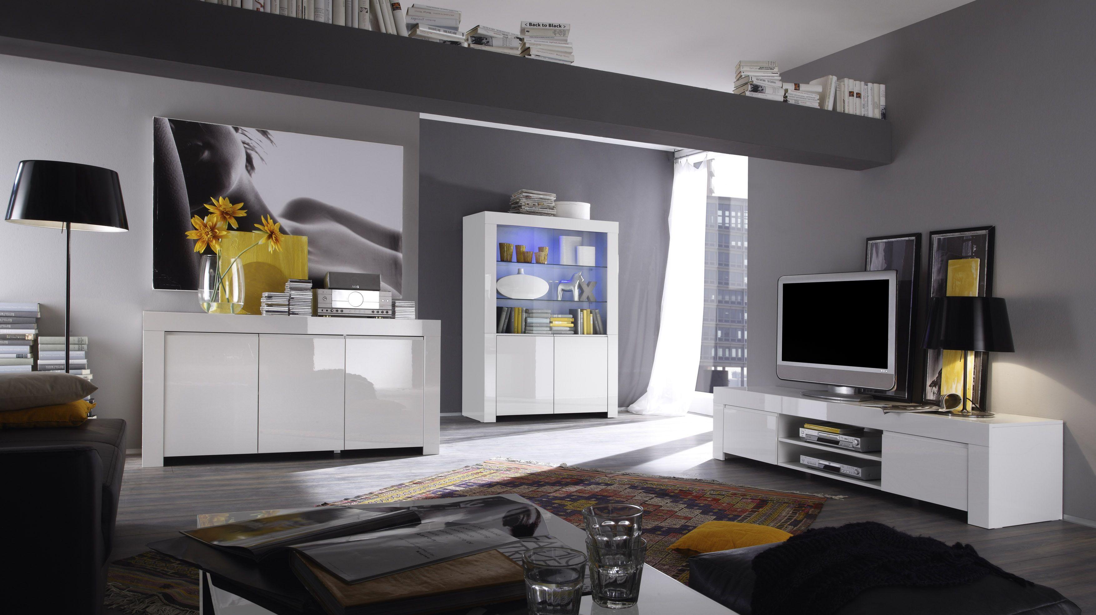 Wohnzimmer Weiss Echt Hochglanz Lackiert Woody 12 00882 Modern Jetzt  Bestellen Unter: Https: