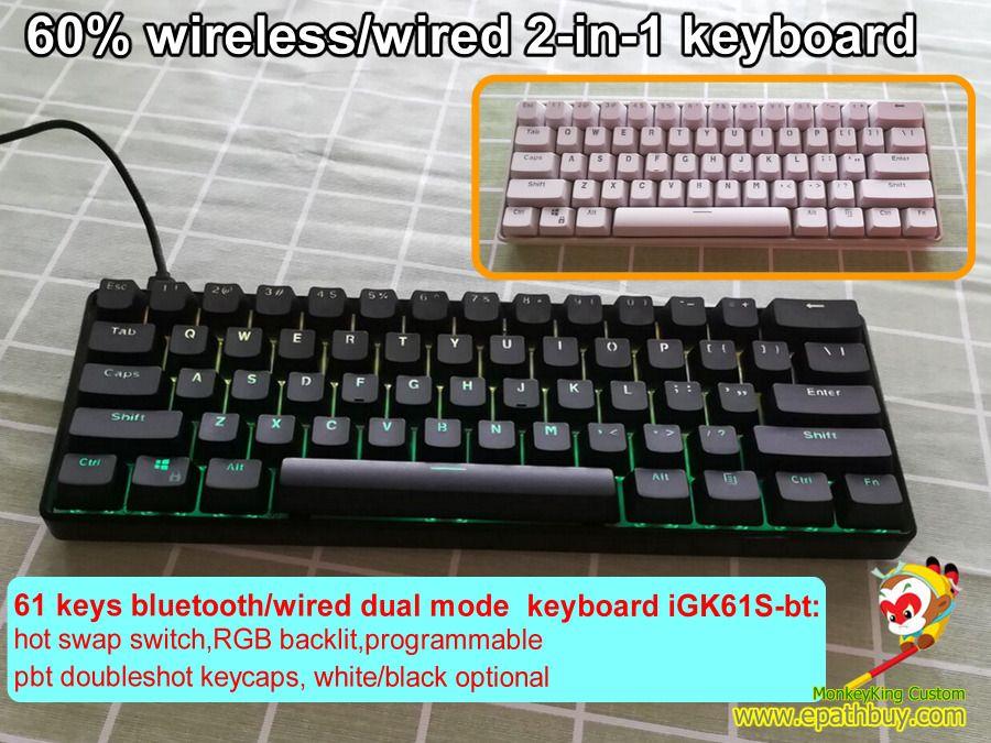 Custom Wireless Mechanical Keyboard Switch Custom 60 Mini Bluetooth Keyboard Customswitch Pbtkeycaps 61keyboard Pokerk Keyboard Bluetooth Keyboard Custom