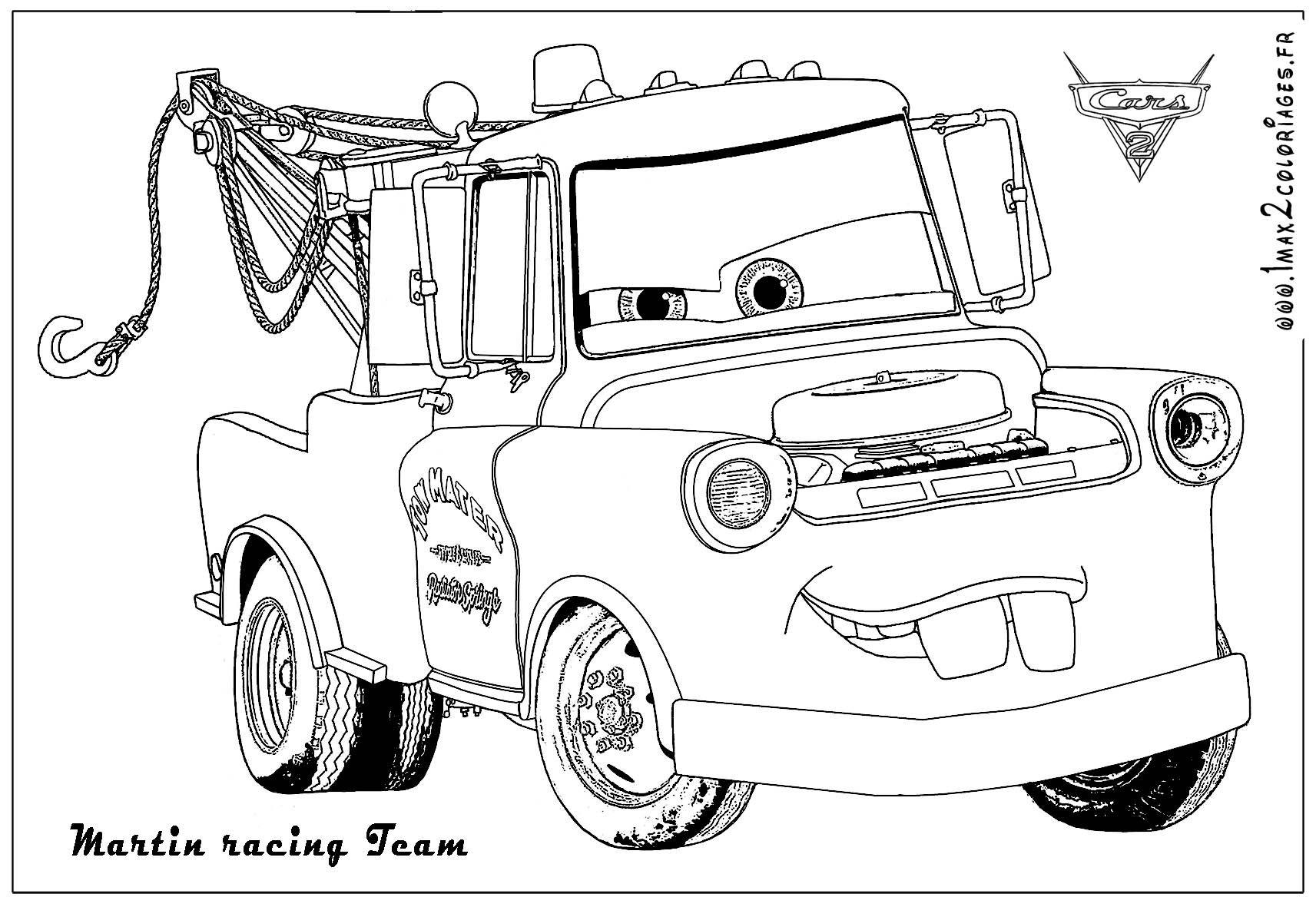 Coloriage Voiture Cars 2 Imprimer.Martin Racing Team Grande Image Dessin Dessin A Colorier