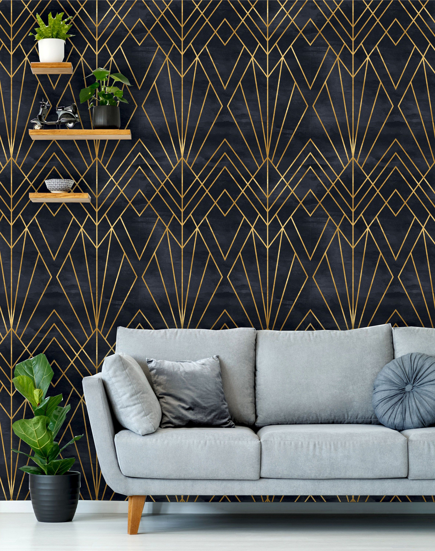 Removable Peel N Stick Wallpaper Self Adhesive Wall Etsy In 2020 Art Deco Wallpaper Peel N Stick Wallpaper Art Deco