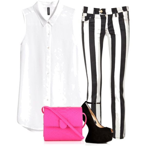 """STRIPED PANTS WITH A POP OF COLOR"" by paopv on Polyvore"