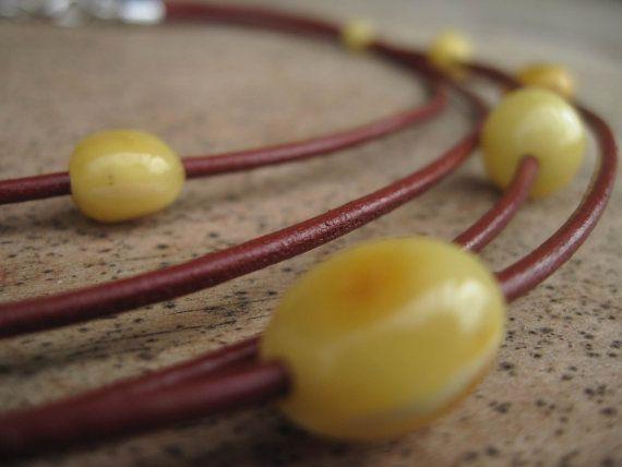 Multi Strand in pelle ambra collana gioielli di DreamsFactory
