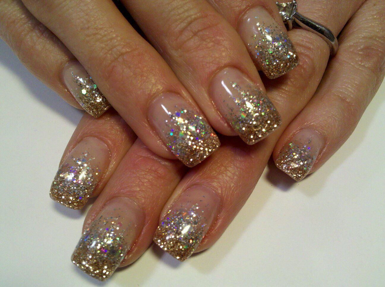 Super Sparkle Silver And Gold Glitter Gel Nails My Work