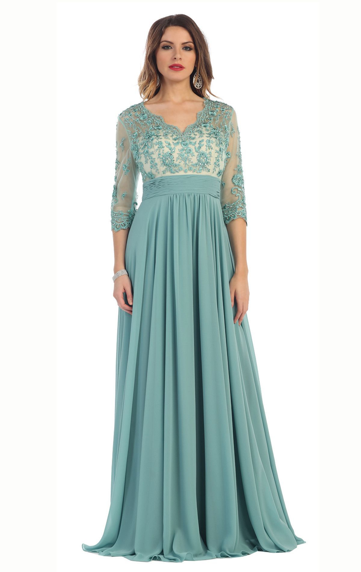 Floor length sleeves mother of the bride groom long evening gown