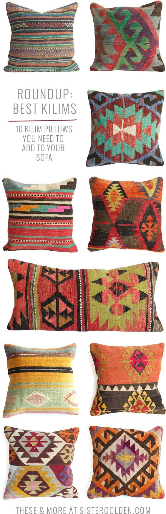 kilim pillows that will add instant boho style to any drab couch interior design pinterest. Black Bedroom Furniture Sets. Home Design Ideas