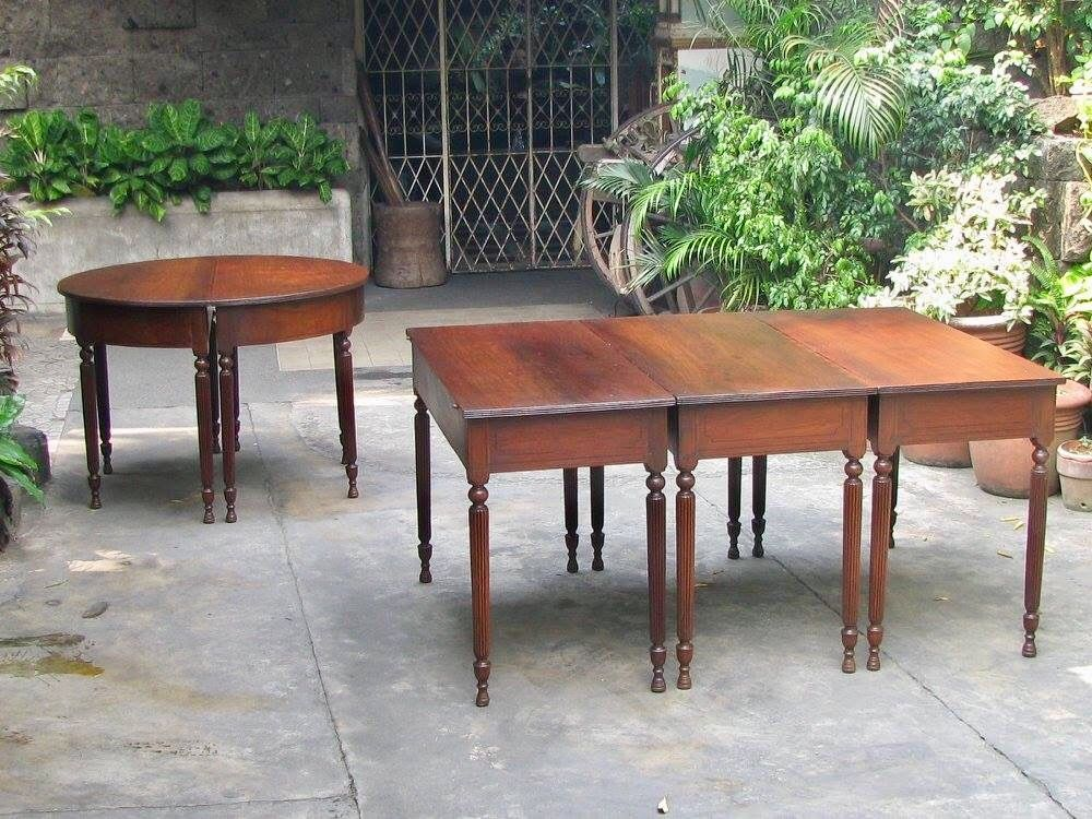 Sectional Table Pampanga 1900s Narra With Kamagong Inlays Dining