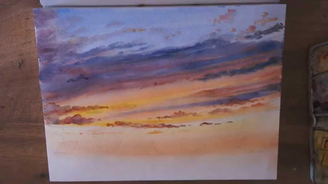 d mo aquarelle coucher de soleil sunset watercolor tutorial tutoriel pinterest. Black Bedroom Furniture Sets. Home Design Ideas